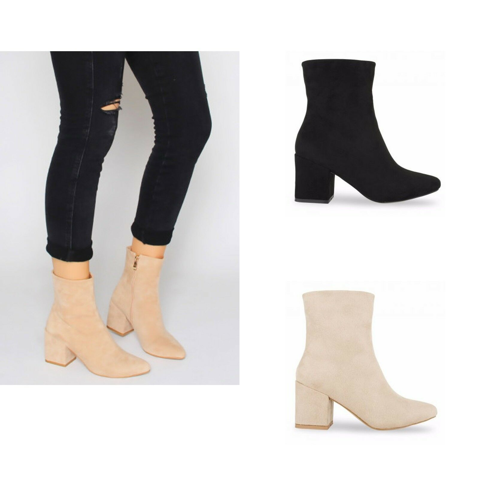 Womens Ladies Mid Block Heel Suede Chelsea Ankle Boots Black Nude Shoes Size