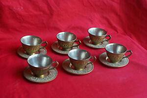 Service-6-tasses-a-the-cafe-en-metal-couleur-bronze-avec-6-soucoupes