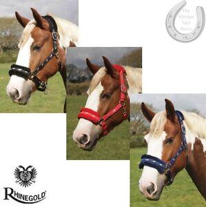 Rhinegold-Logo-Padded-Headcollar-Fleece-Trim-Fluffy-4-Sizes-3-Colours