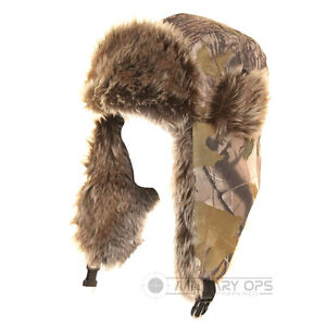 WOODLAND-FOREST-CAMO-TRAPPER-HAT-WITH-FAUX-FUR-TRIM-HUNTER-WARM