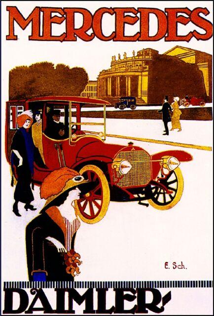 German Mercedes Automobile Car Advertisement Art Poster Print