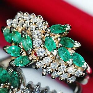 Signed Bh Vintage Effy 14k Yellow Gold 1 65ct Emerald