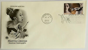 10-USPS-PCS-Martha-Graham-2004-37c-Stamp-FDC-Cover-3840-First-Day-Issue-NEW