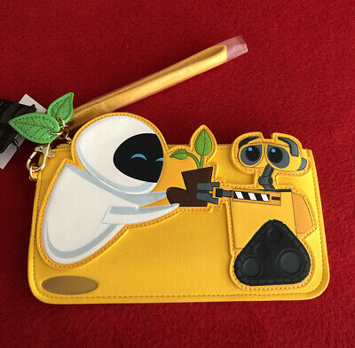 Disney Loungefly Pixar Wall-E /& Eve with Book Yellow Wristlet Clutch Wallet
