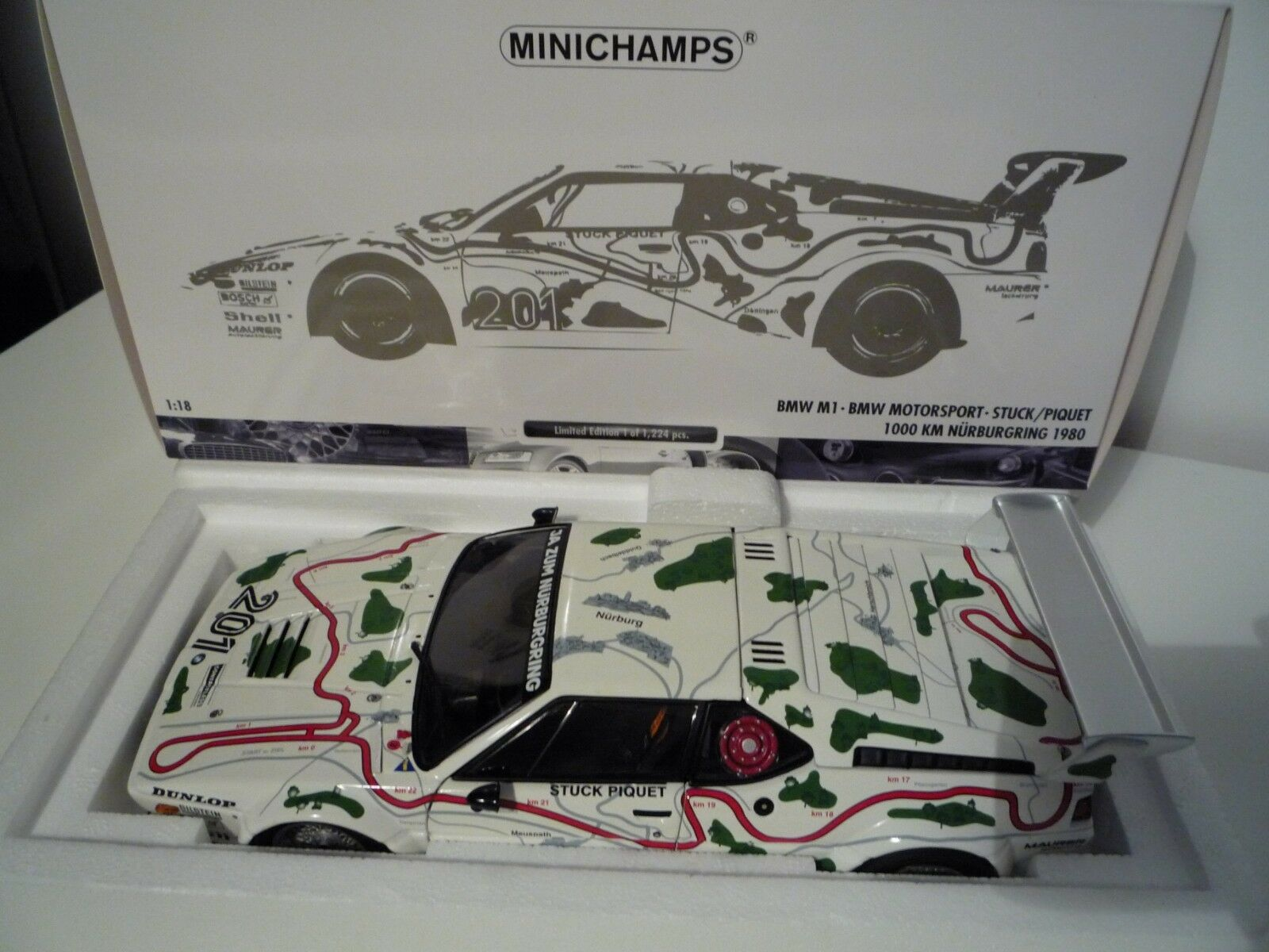 Minichamps BMW M1 Procar Serie 1980 1 18 180802901 Nürburgring 1980