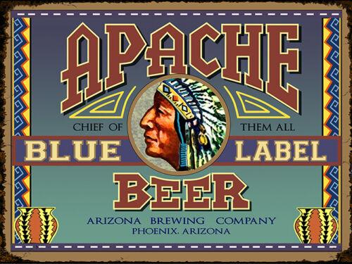 Vintage Arizona Apache blue label ad reproduction steel sign bar decor