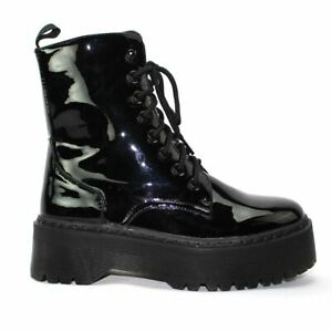Womens Ladies Military Style Lace Up