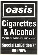 ARTICLE - ADVERT 22/10/94PGN19 OASIS : CIGARETTS & ALCOHOL SINGLE 7X5""
