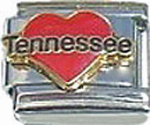 Italian Charm Enamel Love heart Tennessee TN US State