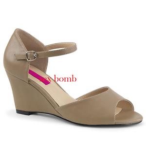 SANDALI ZEPPA tacco 7,5 dal 39 al 46 TORTORA OPACO cinturino zapatos SEXY glamour