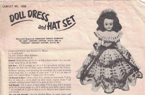 American-Thread-Co-DOLL-DRESS-amp-HAT-SET-Pattern-Leaflet-1026-Vintage