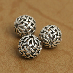 5-Sterling-Silver-Hollow-Basket-Weave-Round-Ball-925-Silver-Bow-Knot-Bead-Spacer