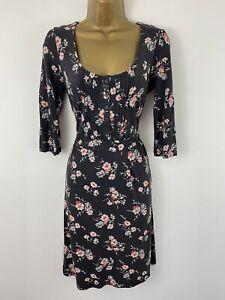 Fat Face Dress Black Grey Pink Floral Jersey Stretch Tie Middle 3/4 Sleeve UK 12