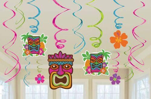 Lot de 12 Hawaiian//Luau totalement Tiki des Tourbillons Suspendus Décorations de Fête-Neuf