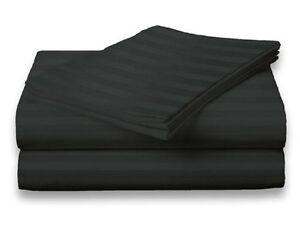 Full-Size-Black-400-Thread-Count-100-Cotton-Sateen-Dobby-Stripe-Sheet-Set