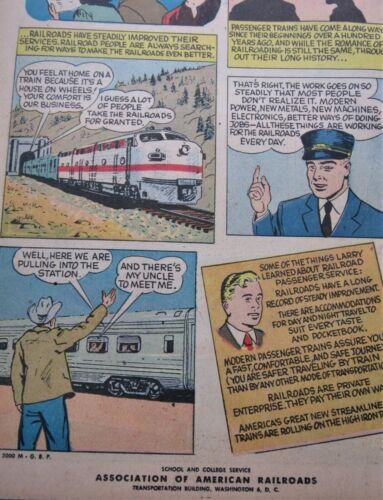 """1955 Railroad Conductor Comic Book /""""Ride the High Iron/"""" 16 Page Depot Give Away"""