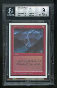 Lightning-Bolt-UNLIMITED-BGS-9-QUAD-Beckett-GradedMINT-Magic-MTG