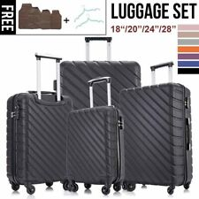 New Listing4 Pcs Luggage Set With Spinner Wheels Carry On Hardside Suitcases 18202428 Inch