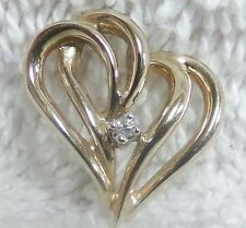 14k Yellow Gold & Solitaire Diamond Ribbon Heart Pendant Ladies Valentine AJ