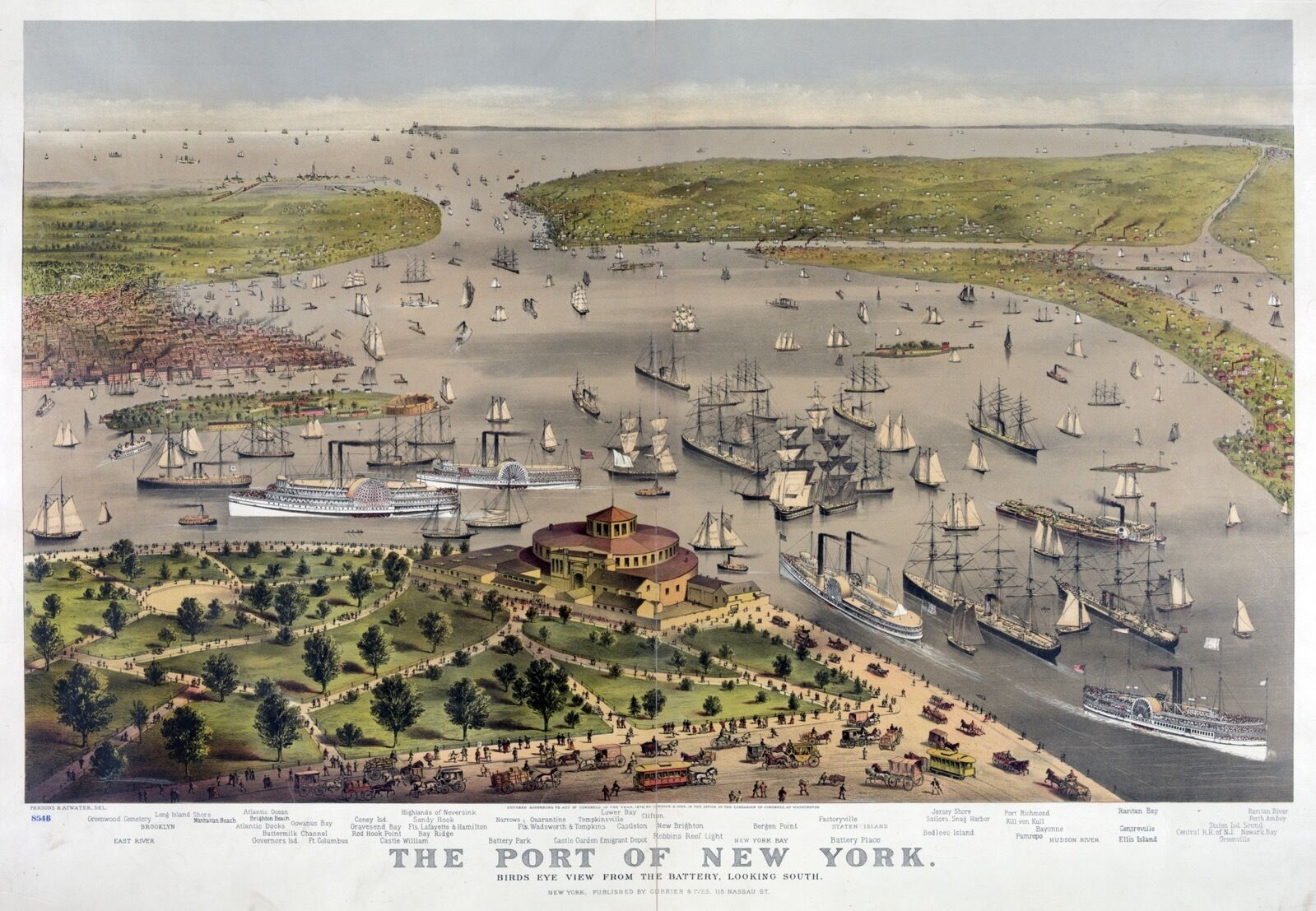 POSTER on Paper or Canvas.Home Art Decor.1876 Port of New York.Aerial map.4829