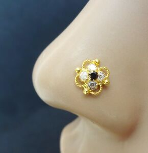 Indian-Nose-Stud-Gold-Nose-Ring-Indian-Nose-Ring-Gold-Nose-Stud-Black-Stone-Pin