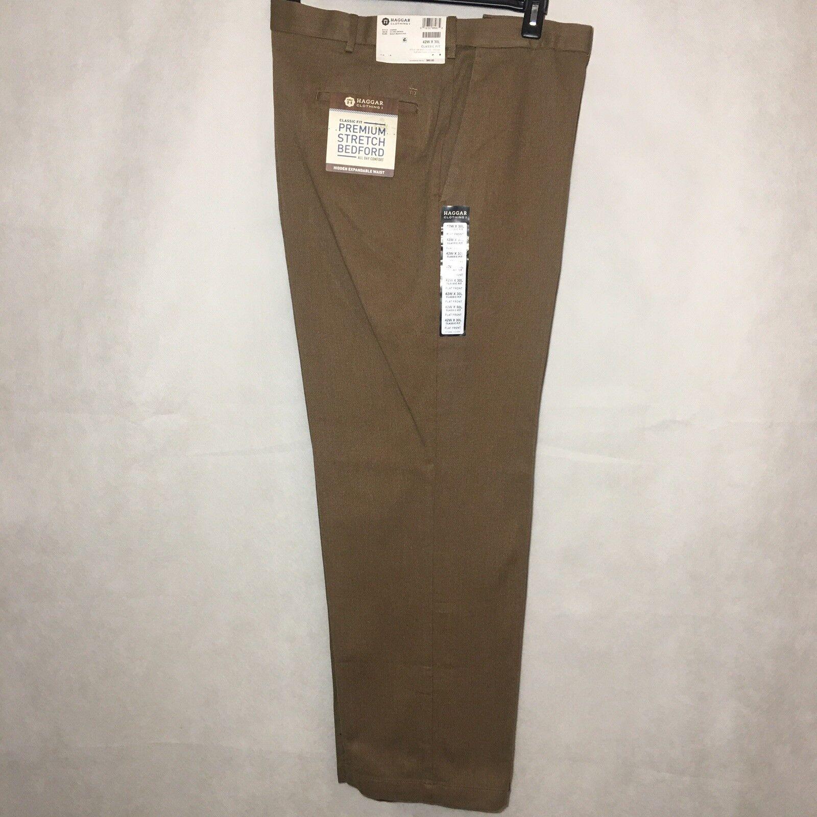 Haggar Men Medium Brown Stretch Bedford Cord Classic Fit Pants Size 42 x 30