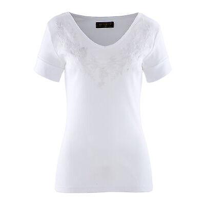 Feminines Shirt mit Stickerei in Weiß - Gr. 44 / 46 - Q2983 - 914961