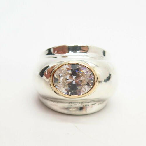 14K C Z Domed  Wide Ring Size 6 1//4 Details about  /925 Sterling Silver