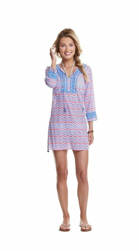 Vineyard Vines Whale Tail Embroidered  Pink Cover-Up Tunic Size XS New