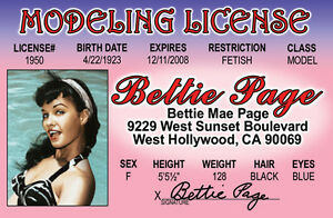 Bettie-Page-MODELING-License-Model-Betty-plastic-ID-card-Drivers-License