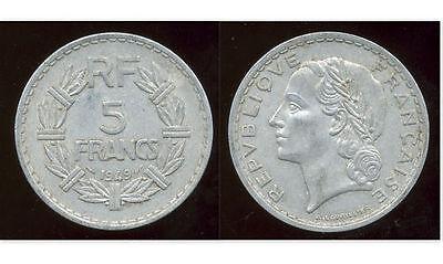 Inteligente Francia 5 Francos Moneda De Aluminio 1949-cabeza Laureada Paquetes De Moda Y Atractivos