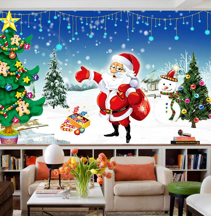 3D Weihnachtsmann 53 Fototapeten Wandbild Bild Tapete Familie Kinder