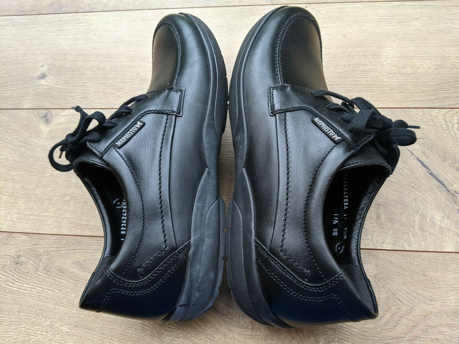 Mephisto Air-Jet Black Leather Cushioned Casual/Travel/Walking Shoes US 11.5