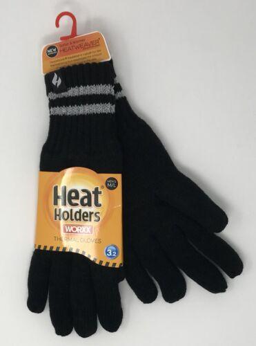 Heat Holders Mens Hi-Vis Reflective Thermal Insulated Work Gloves Black M//L