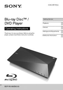 sony bdp s5100 blu ray player owners manual ebay rh ebay com sony blu ray player bdp s185 owners manual sony blu ray player owners manual