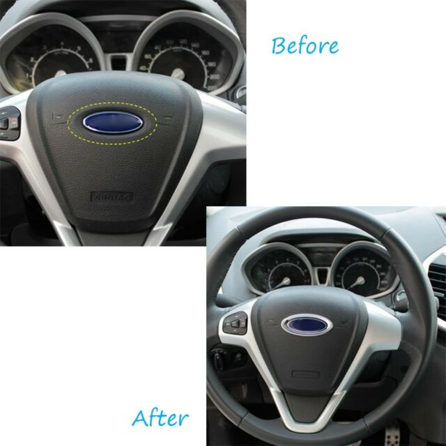 Car Accessories Silver ABS Chrome Steering Wheel Cover Ring Logo For Ford Fiesta