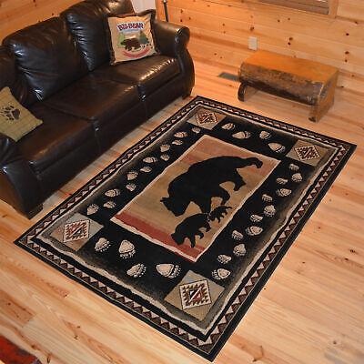 Octagon Bear Paw Deer Lodge Cabin Rustic Area Rug **FREE SHIPPING**