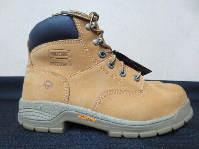 Men's 6  Wolverine Tan Waterproof  Steel Toe Work Boot Size 8.5  5065