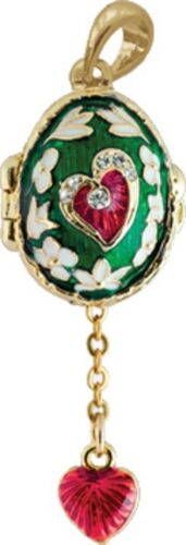 Faberge Egg Pendant Charm with Hearts 2 cm green #0738