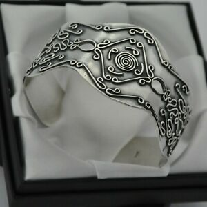 Solid-925-Sterling-Silver-Wide-amp-Heavy-Vintage-Ornate-Design-Boho-Cuff-Bracelet
