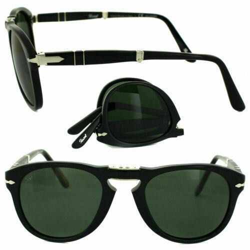 New Persol Sunglasses PO0714 95//58 Steve McQueen Folding Black 52mm Polarized