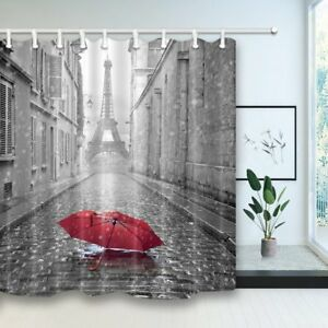 Image Is Loading Paris Red Umbrella In Rain Eiffel Tower Bathroom