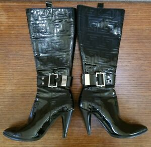 5eecc5e7beb Image is loading VERSACE-iconic-Black-Knee-High-Boots-Size-40-