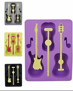 Fun-Silicone-Guitar-amp-Notes-Chocolate-Ice-Cube-Tray-Mould-3-Guitars-amp-2-Notes