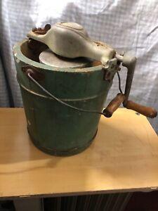1950s-Vtg-ICE-CREAM-Maker-FREEZER-Hand-Crank-TRIPLE-MOTION