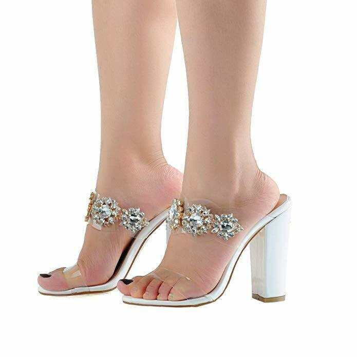 Diamantes de imitación de puntera abierta Flop para Mujer de Moda Tacón Alto Zapatillas Sandalias de transparencia
