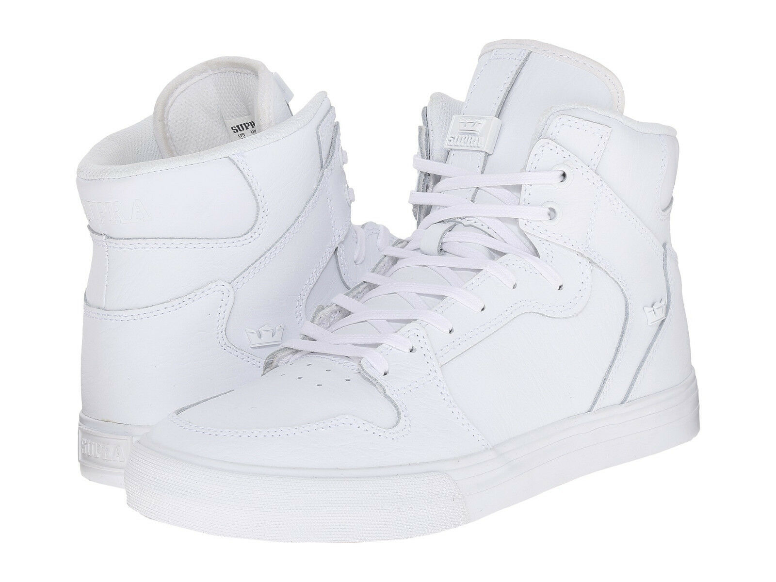 NEW NEW SUPRA VAIDER WHITE WHITE LEATHER SURF SNOW SKATEBOARD SPORTS SHOES 12 Scarpe classiche da uomo
