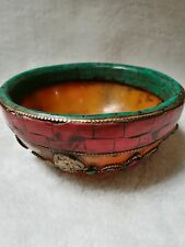 Archaize  Tibet relief carving  pattern Mosaic turquoise bowl Statue