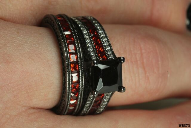Gothic Engagement Wedding Ring Set Black Princess Cut Center Stone With Garnet