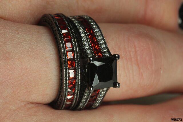 Gothic Engagement Wedding Ring Set Black Princess Cut Center Stone With Garnet